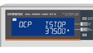 Turbo OFF, OCP Istep 3.75 A Istop 37.5A Test result screen