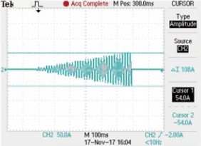 Turbo OFF, OCP Istep 3.75 A Istop 37.5A The actual test waveform