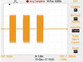 Turbo : ON, Fuse ON, CC pulse 75A, 1S, Test 3 cycles the actual test waveform