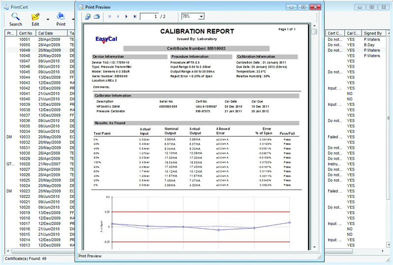 Calbench calibration benches bench software for Pressure gauge calibration certificate template
