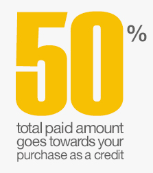 50% of your total paid amount goes towards your purchase as a credit