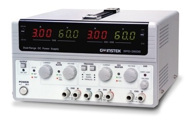 Instek SPD-3606: SPD-3606 DC power supply provides 375W capability, three isolated outputs with dualrange for CH1/CH2, highly efficient power conversion, low noise, highly reliability, thorough protection design, and compact size. SPD-3606 creates a new bench mark for satisying main stream power supply demand.