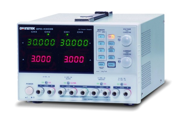 The GDP-Series  are leading edge, economical, high resolution programmable power supplies. They are equipped with 2, 3 and 4 independent output channels and support a maximum output from 180 Watt to 195 Watt. The power supplies include four sets of memory for voltage and current setting, a USB remote interface, high resolution (GPD-2303S / GPD-3303S / GPD-4303S) and intelligent fan control to reduce noise. The durable features along with the free output monitoring software make the GPD-Series suitabke fo any lab as well as the LED industry.