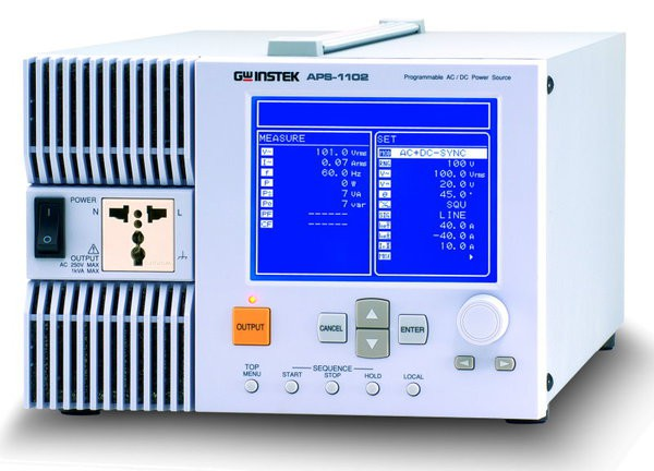 Need an Arbitrary Waveform Power Source? No Problem! The APS-1102 is not only in the role as a precision AC/DC power source but also a powerful analyzer, containing abundant features for the testing and characteristic analysis of power supplies, electronic devices, components and modules. Besides providing AC/DC power, APS-1102 also allows free programming of outputs for the simulation of a power source with abnormal variations. The instantaneous interruption, frequency sweeping, voltage sweeping, and arbitrary waveforms of power source can be easily generated in accordance with the test requirements. The output function includes two main modes, AC and AC + DC. Each mode can be combined with any of the four signal sources, internal (INT), external (EXT), internal + external (ADD), and synchronization, to give an ultimate flexibility of power source setting. APS-1102 includes a multi-functional and user-friendly software, which supports the remote control of panel operations, Sequence editing and execution, Arbitrary waveform editing and transfer, and Data logging via USB interface. With capacity of 1kVA power and weighting of 20 lbs, APS-1102 provides powerful test and analysis features all in a comparatively compact and light-weight box.