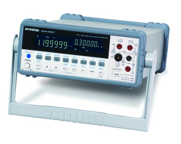 Boost Your Measurement Speed & Efficiency  The GDM-8261A is a high precision 6 ½ digit Digital Multimeter with dual measurement displays, 11 measurement functions and 10 math functions at high accuracy (35ppm DC voltage accuracy) to accommodate the most frequently performed parameter measurements in various application fields today.  The GDM-8261A adopts a scanner card, which carries 16 V-Channels and 2 I-Channels, to facilitate the measurements of multiple-test points on either a device or multiple devices all at a press of a button. With this multi-point measurement capability, the GDM-8261 can be used as a semi-auto ATE System to increase the throughput of manufacturing test or as a data logger to perform long term monitoring or characterization of a DUT. A PC Software, DMM-Viewer, is available with GDM-8261 to support multi-channel panel setting and data logging of the scanner card. Besides, a LabVIEW driver is also supported to help user create his/her own virtual instrument on the PC screen for easy programming. For ATE system measurements or remote control applications, both USB and RS-232 Interfaces are provided as standard, and either GPIB or LAN can be selected as optional interface for the GDM-8261.
