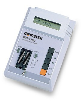 Handheld Linear IC Tester.  The GUT-7700 is a small, lightweight, and portable Linear IC tester that also provides Empty-load and Auto power off function. Including features such as easy operation, power saving, and 0.8 second search time on average, the GUT-7700 is the best solution to Linear IC testing.