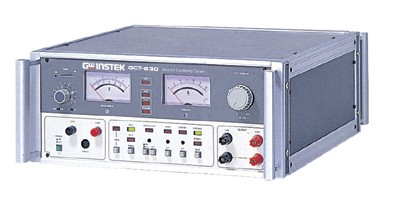 AC 3A-32A Ground Continuity Tester.  The GCT-630 is a special purpose safety tester focused only on Ground Continuity testing. When resistance is under measurement, over current protection can be set from 3A to 32A with a ±10% threshold. The dual meters monitor both testing current and resistance in real-time. The GCT-630 has settable alarms with the ability to stop or continue tests.