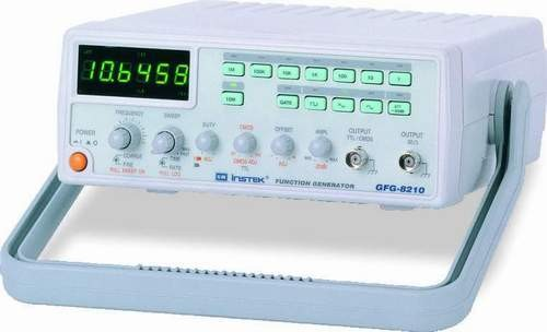GFG-8210: Frequency Range: 0.1Hz~10MHz - Waveforms: Sine, Triangle, Square, Ramp, TTL and CMOS Output - External Voltage Controlled Frequency (VCF) Function - Duty Cycle Control with Signal Inversion Capability - Variable DC Offset Control - Two-Step (-20Bx2) and Variable Attenuator - Built-in 6 Digit Counter with INT/EXT Function Up to 150MHz/High Resolution - LIN/LOG Sweep Mode - Sweep Output