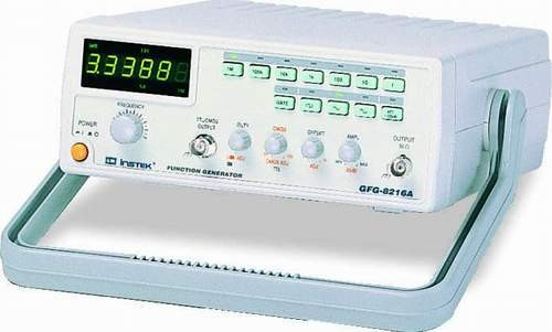 The GFG-8216A is a 3MHz analogue function generator with TTL/CMOS/Ramp output, External Voltage Controlled Frequency (VCF), as well as a built-in 6-digit counter as standard. Using dial knobs and buttons and a clear LCD display for signal generation, the GFG-8216A is simple and easy to use. All these integrated and user-friendly functions of the GFG-8216A are made to accommodate applications in audio response testing, vibration testing, servo system evaluation and ultra sound applications, etc.