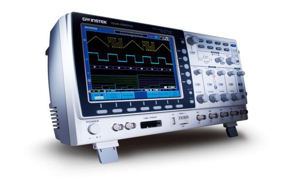 The GDS-2104A Series Digital Storage Oscilloscope offers 4-channel configurations and wide bandwidth selections, including 300MHz, 200MHz, 100MHz and 70MHz. Each model provides 2GSa/s maximum real-time sampling rate, 2Mega point maximum record length and 100GSa/s high-speed equivalent-time sampling rate. Equipped with an 8-inch 800*600 high-resolution TFT LCD display, 1mV/div to 10V/div vertical range and 1ns/div to 100s/div time base, the GDS-2104A series is able to faithfully demonstrate waveforms of complicated and obscure signals.