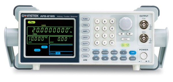 """The AFG-2100/2000 Series Arbitrary Function Generator is a DDS (Direct Digital Synthesized) based signal generator designed to accommodate the Educational and Basic Industrial requirements for an accurate and affordable signal source covering the output of Sine, Square (Pulse), Ramp (Triangle), Noise and Arbitrary waveforms. The 20M Sa/s sampling rate, 10 bit vertical resolution and 4k point memory of the AFG-2100/2000 Series provide user with a flexible environment for creating the specific waveform output as needed. The 0.1Hz resolution of Sine, Square and Triangle waveforms and the 1% ~ 99% adjustable duty cycle of Square (Pulse) waveform are the remarkable features to greatly extend its application range in various fields.   The AFG-2100/2000 Series includes 6 models in three frequency bands of 5MHz, 12MHz and 25MHz. Besides the basic features of the whole AFG-2100/2000 Series, AFG-2100 also carries additional features of AM/FM/FSK Modulation, Sweep, and Frequency Counter.  The user friendly interface of AFG-2100/2000 Series allows user to set waveform parameters, including waveform type, frequency, amplitude, DC offset, modulation type, and duty cycle, through keypad entry and/or the knob selection, and display the set parameters on the 3.5"""" LCD screen. The AFG-2100/2000 Series is equipped with a USB Device interface for remote control and waveform editing through a PC. A waveform editing software is provided to facilitate the waveform creation on the PC. After the waveform editing is done, the user is able to download the waveform data from PC to the AFG-2100/2000 Series for signal output."""