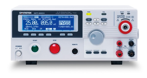 A Solid Foundation for Reliable, Safe and Practical Safety Compliance Testing GW Instek is launching to the market a new series of safety tester with high durability and multiple user-protection design. The GPT-9800 Series look to meet a variety of safety standards such as IEC, EN, UL, CSA, GB, JIS and other safety-related requirements for the safety tests of electronic products and components.  A total of 4 safety testers in the GPT-9800 Series, namely GPT-9804, GPT-9803, GPT-9802 and GPT-9801, are available for various applications. The GPT-9804 is a 4-in-1 model capable of performing AC withstanding, DC withstanding, insulation resistance and ground bond tests. The GPT-9803 is a 3-in-1 model capable of performing AC withstanding, DC withstanding as well as insulation resistance tests. The GPT-9802 is capable of performing both AC and DC withstanding tests, whereas the GPT-9801 is able to perform AC withstanding test. The series of safety tester is built upon a high-efficiency PWM amplifier platform with AC 200VA maximum output capacity to impede the influence from the voltage fluctuation of the input AC source. This ensures a stable voltage supply for all the tests of the GPT-9800 Series.