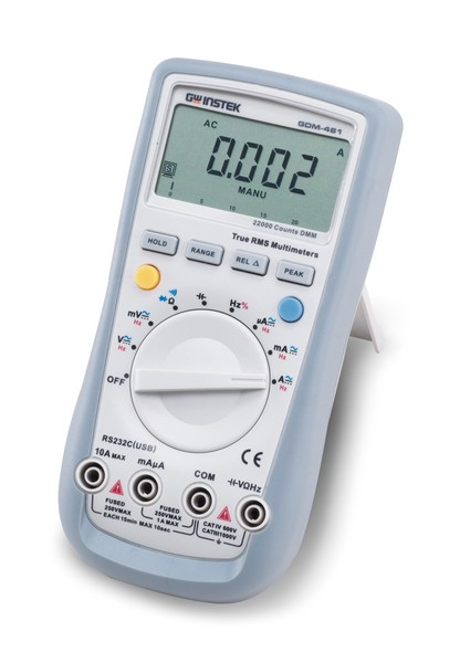 The GDM-300/400 Series Hand Held DMM are a compact, high precision, battery operated multimeter series designed to meet most of the daily needs for design engineers as well as service engineers. The GDM-300/400 series design is driven by mobile-oriented features, such as automatic power down to preserve battery life, a large backlight display for crisp viewing, a rotary selector switch and clear-cut push buttons to ease operation. The basic functions match the depth of bench-top multimeters: fuse-protected current input, true RMS for accurate AC measurements, Auto ranging, Duty cycle, and Relative mode. These compact, reliable, and economical devices are ideal for any engineer.