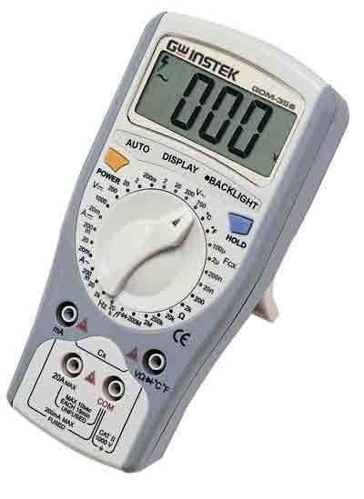 Instek GDM-356: 3 1/2 (1999 Counts) Single LCD Display. The GDM-300/400 Series Hand Held DMM are a compact, high precision, battery operated multimeter series designed to meet most of the daily needs for design engineers as well as service engineers. The GDM-300/400 series design is driven by mobile-oriented features: automatic power down to preserve battery life, a large backlight display for crisp viewing, a rotary selector switch and clear-cut push buttons to ease operation. The basic functions match the depth of bench-top multimeters: fuse-protected current input, true RMS for accurate AC measurements, Auto ranging, Duty cycle, and Relative mode. These compact, reliable, and economical devices are ideal for any engineer.