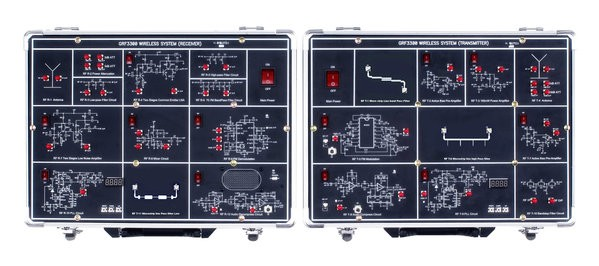 The GRF-3300 Series training system is designed for a high frequency range of wireless applications.  This superior system is equipped with digital phase-locked loop (PLL) and a microstrip line filter (MLF) with a design range from 730MHz up to 960MHz / 2.4 GHz,  which is increasingly important in the education field. By using the Wireless Voice Communication system, students can practically complement their learning.