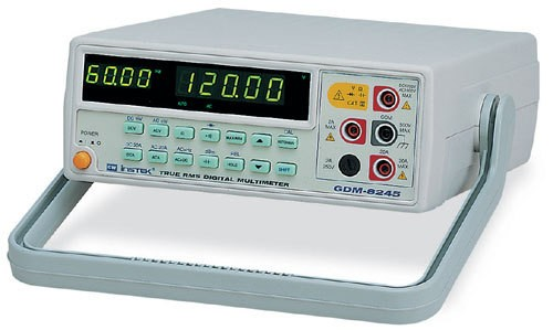 Instek GDM-8245: 50000 Counts DMM - Multi-Function ACV, DCV, ACA, DCA, R, C, Hz, Continuity Beeper, Diode Test, Max/Min, REL, Hold, dBm - Dual Display Indicate ACV and Hz or DCV (ACV) and dBm - Manual or Autoranging - 0.03% DCV Accuracy - 20A High Current Range - 1200V High Voltage Range - AC True R.M.S or AC DC True R.M.S