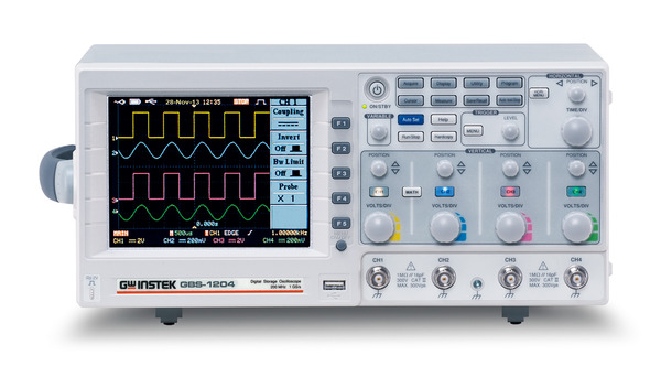 """The GBS-1000 series, an economical selection of the four-channel DSO, offers three frequency ranges including 200,100, and 70MHz, real time sampling rate of 1 GSa/s, equivalent time sampling rate of 25GSa/s and 25k points memory depth.  The GBS-1000 series has numerous features including 5.7"""" TFT color LCD display, 27 automatic measurements, FFT and FFTrms tests, 12-graticule horizontal display, Go/NoGo for predefined conditions, and flexible interface selections such as USB and RS 232. By using the USB interface, users can save waveform images and waveform data as well as carry out waveform printout. The diversified features have made the GBS-1000 series the number one choice of the economical four-channel oscilloscope."""