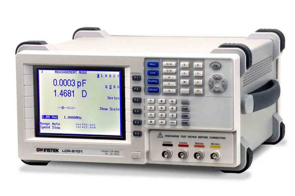 LCR-8101: 20Hz-1MHz, LCD Display, 0.1% Basic Accuracy. The LCR-8101 1MHz precision LCR meter provides accuracy and versatility for a wide range of component measurements, even including DC resistance measurement and Voltage/Current monitoring. High resolution and accuracy provide precise measurement results which help reconstructing component characteristics. The Multi-Step function allows customized measurements with Pass/Fail indication, in accordance to the users'' requirements. Parameters and limitations are defined separately for each program step. GPIB and RS-232C interface are installed as standard features for controlling the instrument and reading the measurement results. Optional Graph Mode can display component characteristics in graphs over a wide frequency range. The rich features of the LCR-8101 relieve the users'' measurement tasks at a very competitive price.