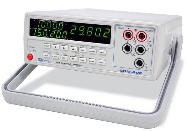Instek GOM-802: 30000 Counts Display - Hi/Lo Comparator and Limit Percent Setting - Measurement of REL, Actual and % Value - Continuous or Triggered Measurement Mode - Temperature Compensation and Measurement - Four-Terminal Measurement Technique - Auto-Recall Last Setting After Power OFF and ON again - Alarm Setting for PASS/FAIL - Scan, Handler Interface (Standard) - High Accuracy 0.05% - Manual or Autoranging - RS-232C, GPIB (Option)