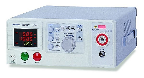 Instek GPT-805: 500VA AC Output - True RMS Current Readback - 3 Ranges of Adjustable Cut Off Current - Digital Display for Voltage, Current and Timer at Same Time - Zero Turn-On Operating Switch (for GPT-805, GPT-815, GPI-825) - Automatic FAIL Indicator of Alarm Lamp and Buzzer - 9 Pin Remote Control for START, RESET - General Input Power Acceptable - Voltage Output Adjustable During Test Period - Arc Detection - Easy Operation