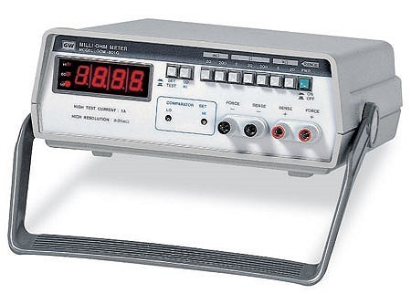 """3 1/2 digits D.C. Milli-ohm Meter.  The GOM-801H milliohm meter is the ideal device for quick and precise component and material resistance measurements. The main display is equipped with a 3 1/2 digit 0.5"""" red LED with comparator indicators. Measurable objects can cover cable joints, earth bonds, switches, motors, transformers and generators. The front panel features seven selectable test ranges, 20mΩ to 20kΩ. The internal comparator is fully adjustable for the user settable Hi/Lo comparison indicator. The GOM-801H is the best choice for an inexpensive, easy to use, yet reliable milliohm meter."""