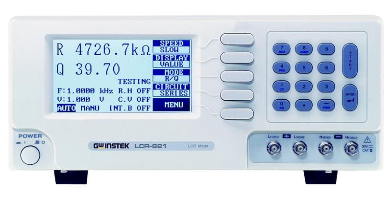 The LCR-800 Series are high-end digital LCR meters for component/material measurements, applicable to various R&D activities and assembly lines. The large 240 x 128 dot matrix LCD display provides ampleroom for two measurement items and setup parameters allowing you to grasp measurement results quickly. All test modes are able to measure supplementary factors such as, R/Q, C/D, C/R, and L/Q. The LCR-821 also contains precise resistance measurements as a combination of absolute value and phase angle. 100 sets of measurement setup memory allow sharing a single unit among multiple testing conditions or sites. For a better viewing experience with a standard PC monitor, proprietary