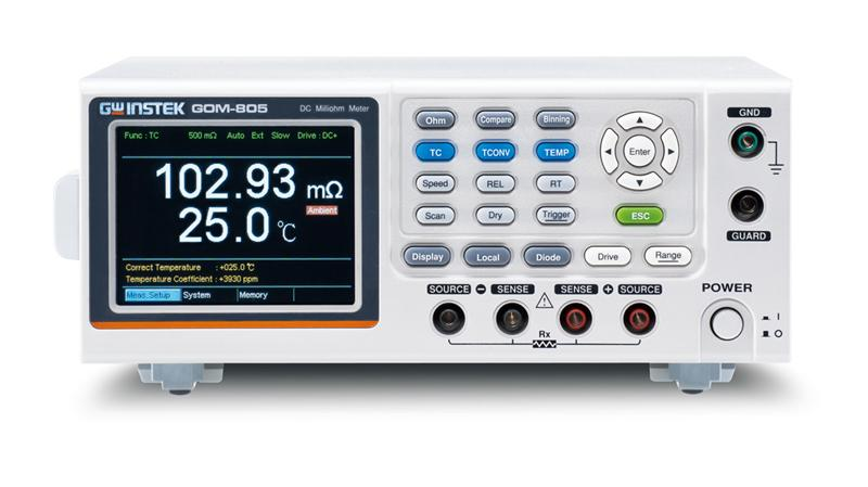 GW Instek launch a new series of D.C. milliohm meter ─ GOM-804/805, which abundantly feature 3.5-inch TFT display, maximum 50,000 counts measurement display, the rapid sampling rate of 60 readings per second, optimum 0.05% measurement precision, four wire measurement method as well as the temperature measurement and temperature compensation measurement function to meet the requirement of low resistance measurement application. The GOM-805 also includes various drive modes and Dry circuit for contact resistance measurement applications. More features, including 20 sets of panel setting memory and many external control interface such as RS-232C, USB, Handler/Scan/EXT IO or GPIB (option), greatly elevate GOM-804/805 milliohm meter's convenience on practical applications.