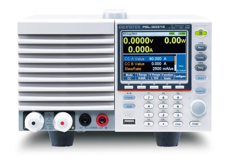 programmable single-channel electronic load. PEL-3031E provides 300W (1V~150V/60A) current sink capability.