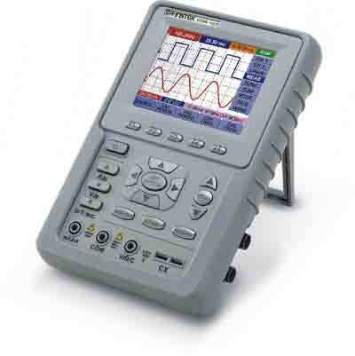 Instek GDS-122: GDS-122 is GW Instek's first handheld oscilloscope launched to the market. It is equipped with 3.8-inch color LCD, which is helpful to clearly show 2 different channel waveforms at one display. Its 100 MSa/s real-time sampling rate and Dual Waveform Math (DWM) function provide users with the fast waveform analyzing capability. What's more, the additional 6k memory brings the GDS-122 with the impressive accurate data-capturing capability to satisfy diverse industrial requirements. Besides, the DMM mode offers 3 ¾ build-in 4,000 count digital multimeter and auto/manual range adjusting function. No matter in the situation like dealing with voltage, electric current, resistance, diode or even auxiliary measuring, GDS-122 helps obtaining precise information without any delay.