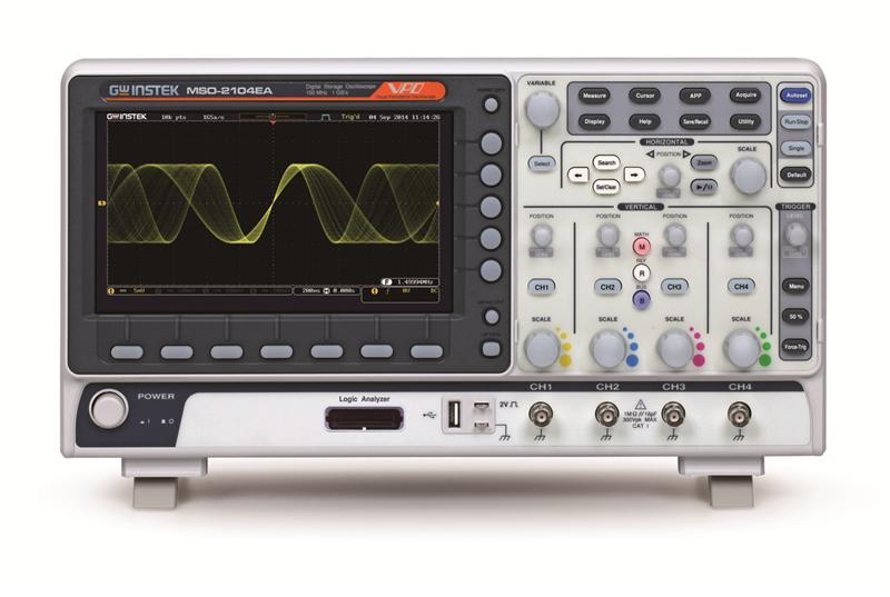 The MSO-2000 series is a mixed-signal oscilloscope, which offers dual analog channels + 16 digital channels or 4 analog channels + 16 digital channels. The MSO-2000 series includes MSO-2000E and MSO-2000EA. MSO-2000E has a built-in 16-channel logic analyzer and MSO-2000EA has a built-in 16-channel logic analyzer and a dual channel 25MHz arbitrary waveform generator. The entire series features bandwidth selections of 200MHz, 100MH, and 70MHz. Dual analog channel models provide 1GSa/s real-time sampling rate per channel; four analog channel models provide 1GSa/s maximum real-time sampling rate. The 8-inch 800*480 TFT LCD and the minimum 1mV/div vertical range allow the MSO-2000 series to measure complex feeble signals and clearly display measurement results.