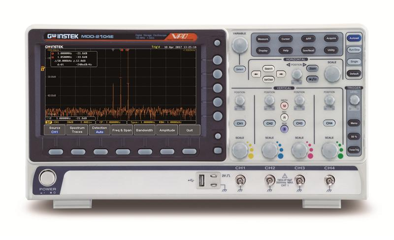 MDO-2000E series is multi-functional mixed domain oscilloscope. The series includes two feature combinations : MDO-2000EG and MDO-2000EX. MDO-2000EG models have a built-in spectrum analyzer and a dual channel 25MHz arbitrary waveform generator and MDO-2000EX models feature a built-in a spectrum analyzer, arbitrary waveform generator, a 5,000 count DMM, and a 5V/1A power supply. The first of its kind, MDO-2000EX is the only oscilloscope to equip with a DMM and a power supply in the T&M industry.