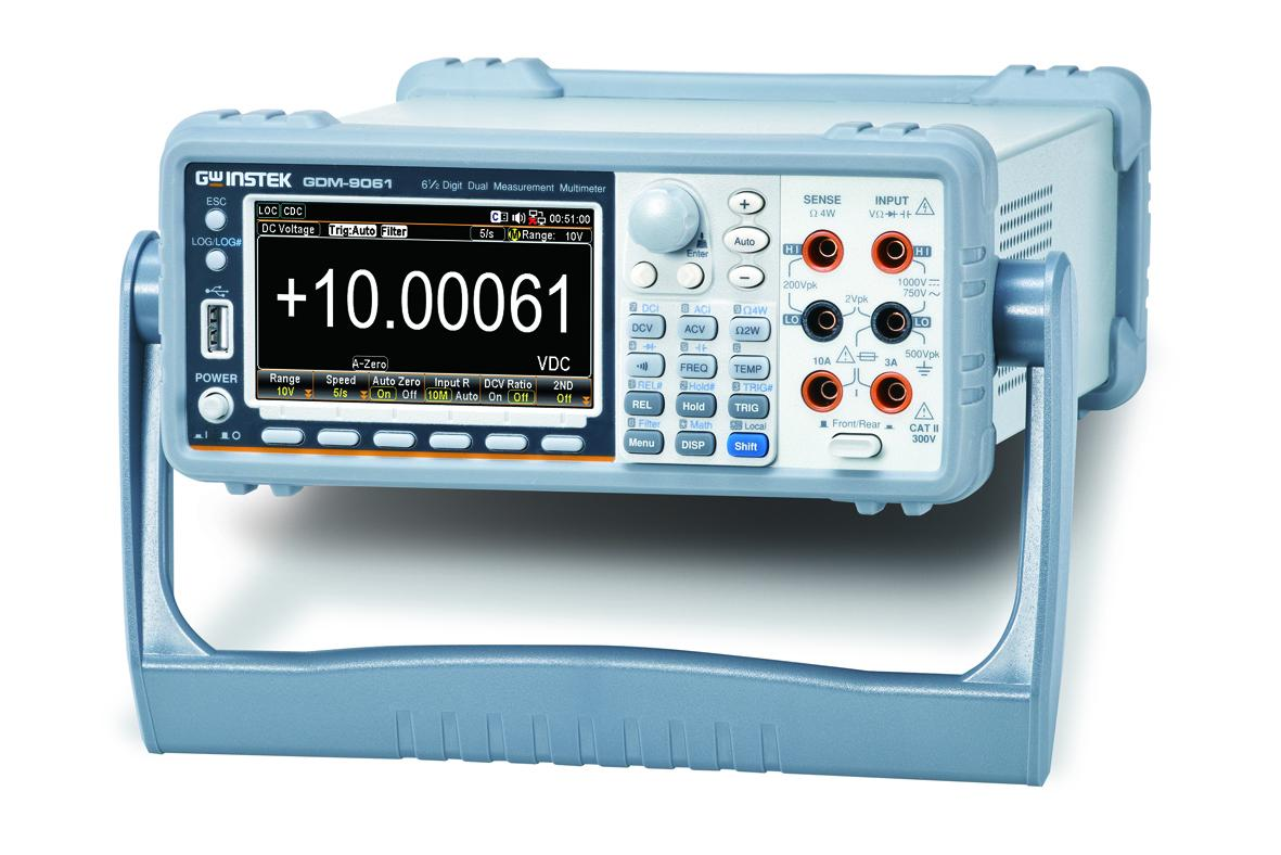 GW Instek launches GDM-906X series 6 ½ digit dual measurement multimeter (2 models: GDM-9061 and GDM-9060), featuring high precision DC voltage accuracy, fast sampling rate, 12 measurement functions (DC voltage/current, AC voltage/current, 2-wire/4-wire resistance, frequency, period, diode, continuity beeper, temperature, capacitance), 6 mathematical functions (dB/dBm/Compare/ MX+B/Percent and 1/X) as well as a variety of communications interfaces (USB device/host, RS-232C, LAN, digital I/O and optional GPIB) to provide comprehensive measurement capabilities, higher speed and accuracy.