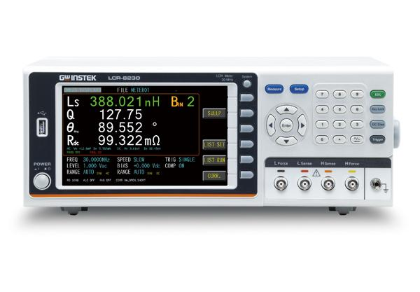GW Instek launches a new series of high-frequency LCR meter ~ LCR-8200, which has four models and the maximum test frequency is up to 30MHz. The entire series adopts 7-inch color display and features a high measurement accuracy (0.08%). The measurement results can be presented numerically or graphically according to the selected measurement mode, allowing users to optimally interpret the characteristics of the DUT. At the same time, a full range of standard interfaces such as USB device / RS-232C / Handler and GPIB allow users to control the instrument by the most familiar interface without worrying about additional hardware investment costs. Furthermore, the series also provides USB storage function when operating in the graphics mode. The measured characteristic curves and values of the DUT are saved for subsequent analysis. The wide variety of features of the LCR-8200 can help users easily respond to the test requirements of passive components in R&D, engineering, and production.