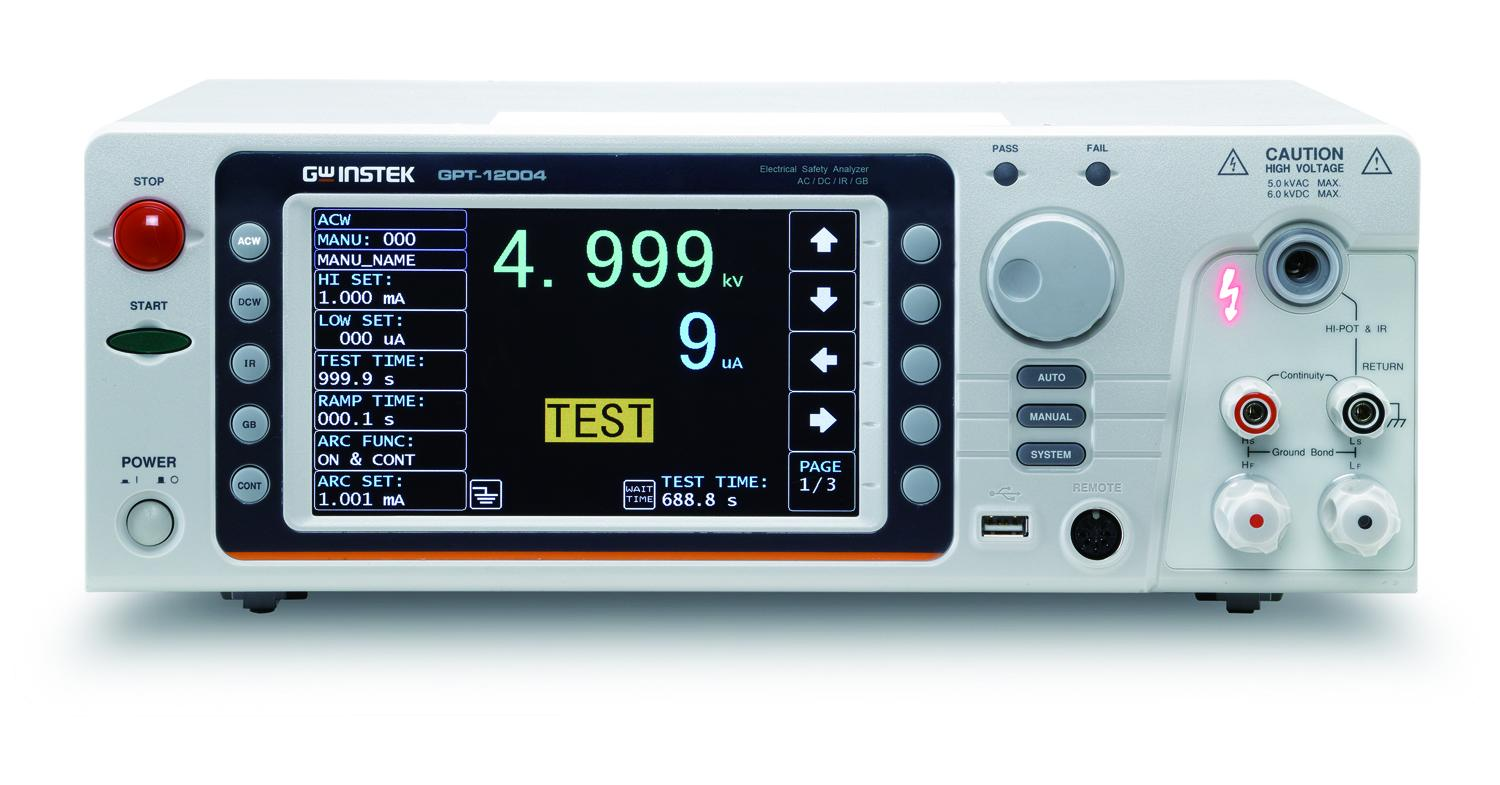 GW Instek introduces the flagship model (200VA output capacity) safety analyzer-the GPT-12000 series, which is the first safety analyzer in the world to comply with IEC 61010-2-034 (Safety requirement for electrical requirement for measurement, control and laboratory use – particular requirements for measurement equipment for insulation resistance and test equipment for electric strength), which stipulates that the requirements of the software and hardware interfaces must be followed while designing high voltage and insulation resistance test and measurement instruments so as to ensure that users are provided with necessary protection and warning while using the instruments.