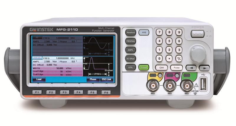 GW Instek rolls out the MFG-2000 series multi-channel function generator, which has up to 5 simultaneous output channels, including CH1 and CH2 equivalent performance dual channel arbitrary function generator with the maximum 60MHz for both channels; RF signal generator, a standard AFG, which produces the maximum 320MHz sine wave and various modulation RF signals; pulse generator, whose frequency reaches 25MHz; power amplifier, which is ideal for audio range. The above-mentioned five different functionality channels are separately or totally allocated on 10 models, which extend from the basic single-channel AFG with pulse generator models to five-channel models so as to satisfy various educational and industrial applications.