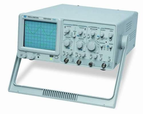 Instek GOS-620FG: Built-In 1MHz Function Generator - 20MHz, Dual Channel - High Sensitivity 1mV/div - TV Synchronization - Z Axis Input - ALT Triggering Function - CH1 Output - Economic Choice for High Quality - 310(W) x 150(H) x 455(D)mm; Approx. 8.5kg