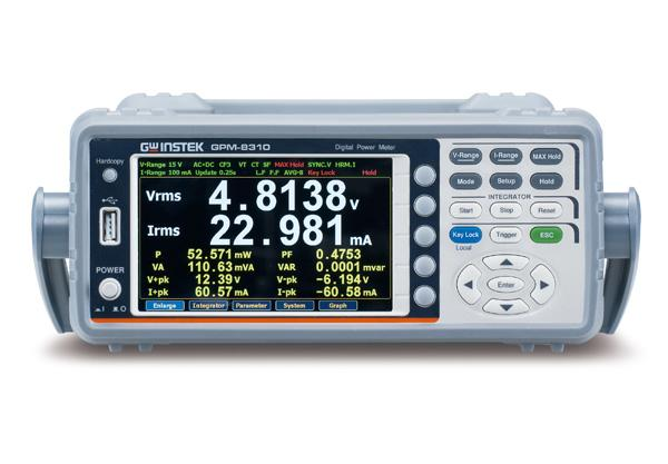 "GW Instek GPM-8310 is a digital power meter for single-phase (1P/2W) AC power measurement. Features include DC, 0.1Hz~100kHz test bandwidth, 16bits A/D, and 300 kHz sampling rate. It adopts 5"" TFT LCD screen with a five-digit measurement display and provides 25 power measurement related parameters, and has a high-precision measurement capability. It also features the ability to display waveform (voltage/current/power), the integration measurement function, harmonic measurement and analysis of each order, external sensor input terminals, and various communication interfaces, etc., to help users achieve clear, convenient and accurate power measurements. This power meter is a most cost-effective power meter with most complete functionalities among the products of the same category."