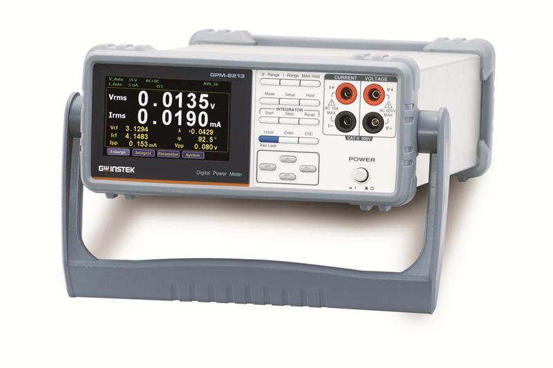 "GW Instek GPM-8213 power meter is designed specifically for single-phase (1P/2W) AC power supply's power measurements. Powerful features, including 4"" TFT LCD, five-digit measurement display, 19 power measurement parameters, integral measurement function, high-accuracy voltage/current/power measurement capabilities, front/rear panel input terminals, and various communications ports, are to facilitate users with clear, convenient, and accurate power measurements."
