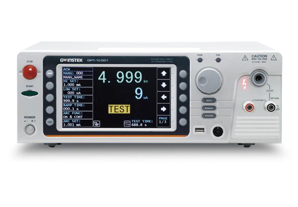 GW Instek introduces the flagship model (500VA output capacity) safety analyzer-the GPT-15000 series, which is the first safety analyzer in the world to comply with IEC 61010-2-034 (Safety requirement for an electrical requirement for measurement, control and laboratory use – particular requirements for measurement equipment for insulation resistance and test equipment for electric strength), which stipulates that the requirements of the software and hardware interfaces must be followed while designing high voltage and insulation resistance test and measurement instruments so as to ensure that users are provided with necessary protection and warning while using the instruments.