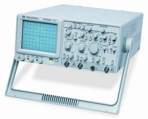 Instek GOS-653G: 50MHz, Dual Channel - Delayed Sweep (GOS-653G) - Built-In Delay Line (GOS-653G) - TV Synchronization - CH1 Output - Z Axis Input - ALT Triggering Function - Hold Off Function - Trigger Level Lock Function - 6-inch rectangular type with internal graticule 0%, 10%, 90% and 100% markers. 8 x 10 div (1div=1cm) 310(W) x 150(H) x 455(D)mm; Approx. 8.2kg - AC 100V/120V/220V/230V /- 10%, 50Hz/60Hz