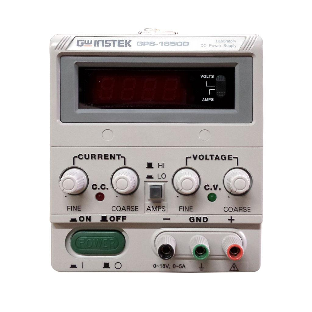 The GPS-1850D is a single output, 90W, linear DC power supply. The GPS-1850D includes a digital display meter with varying power outputs. This unit offers overload and reverse polarity protection as well as high regulation and low ripple/noise that are maintained at 0.01% and < 1mVrms, respectively. Continuous or dynamic internal load selection accommodates applications such as pulsed current. Remote control terminals offer programming and operation from an external device.